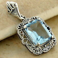 GENUINE 3 CT SKY BLUE TOPAZ 925 SILVER ANTIQUE STYLE FILIGREE PENDANT,      #987