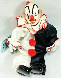 "12"" DYNASTY DOLL 1980's Bisque Porcelain Clown - Original Tags - Black and White"