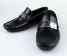 New LOUIS VUITTON 'Racetrack' Black Calf Leather Moccasin Shoes Size 6 US 39 EU