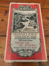 Vintage Cloth Ordnance Survey Map Of Truro And St Austell Cornwall