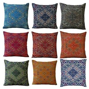 Home Decor Ethnic Cotton Pillow Exclusive Embroidery SWATI Cushion Cover 40x40cm