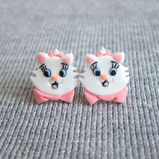 Arystocat Marie White Cute Cat Girls Outfit Gifts Funny Small Earrings Jewelry