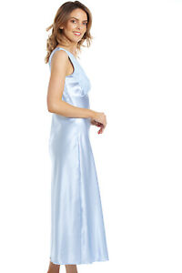 Long Summer Sexy Satin and Lace Nightdress Nightie Chemise Wide Strap Bridal