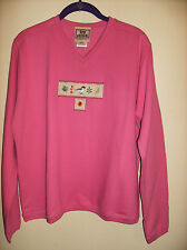 NEW Pink Chickadee & Leaves Pullover V Neck Long sleeve Plush SIZE LARGE Reg $40
