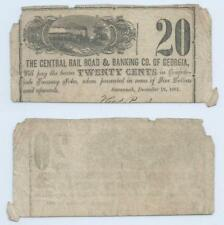 1861 Central Railroad & Banking Co of Georgia 20 Twenty Cents Civil War Csa