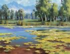 """TOM HAAS painting 'Water Garden' oil 11""""x14"""" Colorado river mountains lily pads"""