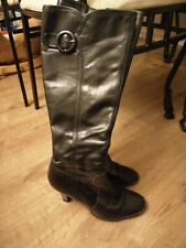 Next Black Leather Knee High Boots, Size 6