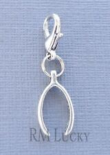 WISHBONE Pendant dangle Clip On Charm Fit Link Chain, floating locket C194
