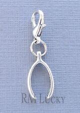 WISHBONE Pendant dangle Clip On Charm Fit Link Chain, floating locket C194