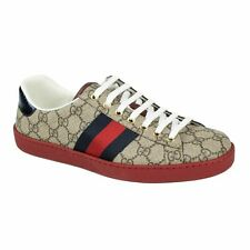 NIB GUCCI Red GG Print Ace Lace Up Sneakers Shoes 5.5/6.5