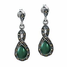 Infinity Twirl Green Resin and Marcasite .925 Silver Earrings