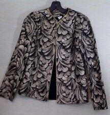 Women's Evening Jacket SZ 8 Black Gold Metallic Paisley Lined Acetate Open Front