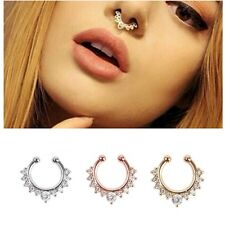 HOT Fake Septum Clicker Nose Ring Non Piercing CRYSTALS Clip On Jewellry