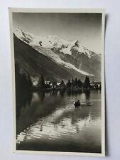 Chamonix et le Mont-Blanc France Vintage B&W Postcard 1939 Le Lac