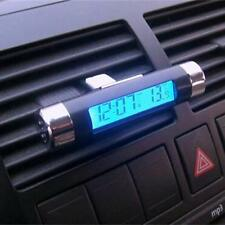 Battery Powered In Car Clock Vehicle Thermometer Time Digital Display Clamp