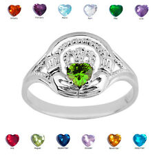 925 Sterling Silver Ladies Claddagh Green Peridot August CZ Birthstone Ring