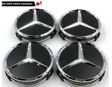 4 PCS 75mm Mercedes Benz Matte Black Chrome Logo Wheel Center Caps