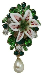 DOLCE & GABBANA Brooch Green Lily Gold Tone Resin Crystal Faux Pearl RRP $800
