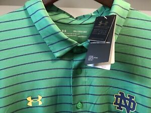 """Notre Dame Under Armour Bnwtags Green striped polo! On Field 3XL loose fit Golf"""""""