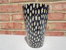 "Vintage Italian Murano Glass Millefiori Vase Black White & Yellow Daisy  6 1/4"""