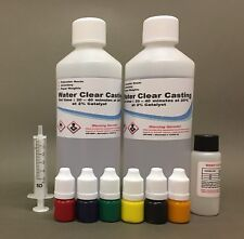 Casting Resin Clear water Kit 1kg 1000ml cast jewelry with 6 Transparent colours