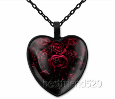 Gothic Rose Photo Tibet Silver Cabochon Glass Heart Pendant Necklace