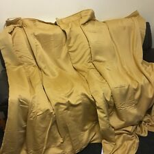 "Pair New-gold Satin/silk Interlined Curtain 66 Inch Wide X 90"" Inch Drop-tapetop"