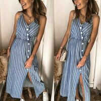 Women Sexy Slim Sling Maxi Dress Lady Bodycon Nightclub Stripe Ball Gown Dresses