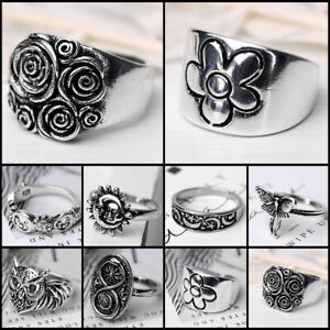 Vintage 925 Silver Men Women Flower Animal Band Rings Party Wedding Jewelry Gift