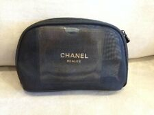 NIP Small Chanel Mesh Black CC Charm Cosmetic Makeup Pouch Case Bag FreeShipTrac