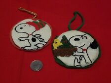 2 Snoopy Peanuts Noel/Christmas Ornaments Vintage 1980 with/Woodstock 1980