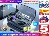 IPX8 TWS Bluetooth 5.0 Wireless headset Earphones Earbuds 4500mAh Waterproof AU