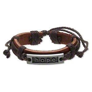 Leather Bracelets HOPE Adjustable Wristband Christian Jewelry Lot of 2