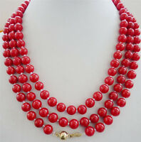 "Beautiful 8mm red coral Round beads necklace 54"" 14KGP Clasp"