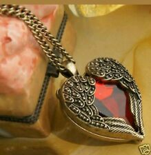 Gothic Angel wings Vintage red heart necklace pendant steampunk  WICCAN