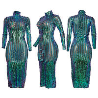 Womens See-Through Metallic Bodycon Dress Ladies Sexy Shiny Clubwear Party Dress