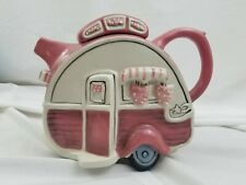 Blue Sky Dining Car Caravan Retro Trailer Camper Pink Teapot Ceramic 14725