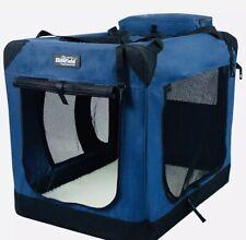 "3-Door Folding Soft Dog Crate, 30""L x 21""W x 24""H,Royal Blue (ELITEFIELD)"