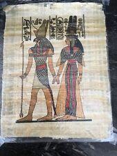 "New! Large Authentic Egyptian Papyrus Paper Horus escorting Nefertari 17"" X 13"""