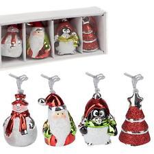 4 pailleté & CHROME peint Décorations d'arbre - Pingouin, Père Noël,