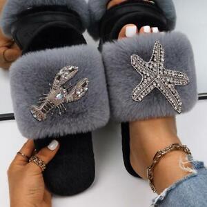 Starfish Lobster Decor Furry Slides Faux Fur Flat Indoor Slippers Women's Slides