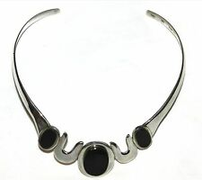 Taxco Modernist Sterling Silver Onyx Choker Collar Signed 1970s