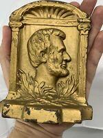 "Antique Abraham Lincoln Bust Profile Bookends  Cast Iron 2.8 Lb 5.5"""