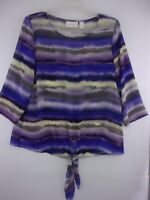 Chico's Womens Sz 1 Sheer Purple+Striped 3/4 Sleeve Tie Bottom Blouse Top