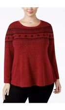 Style Co Plus 0X Down Red Printed Melange Top Flock Christmas Sweater 🎄 msrp$56