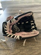 "Girls Pink Rawlings PL85PB 8.5"" T-Ball Softball Baseball Glove Mitt Left Handed"