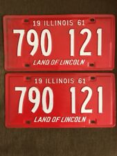 Vintage Pair of Excellent 1961 IL Land of Lincoln lightly used auto plates/tags