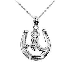 Horseshoe Necklace Cowboy Boot Charm Pendant Western Cowgirl Jewelry Horse New