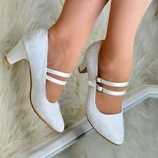 Womens Mary Jane Bridal Shoes Lace Wedding Low mid Block Heel Full toe Pumps