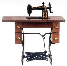 Dollhouse Miniature Walnut Vintage Sewing Machine Doll House Furniture